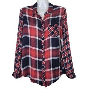 Lucky Brand Plaid Long Sleeve Shirt Red M